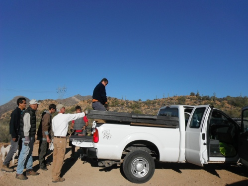 We met at Battle Axe Road and loaded up the BLM truck with the gate and the ATV barrier.