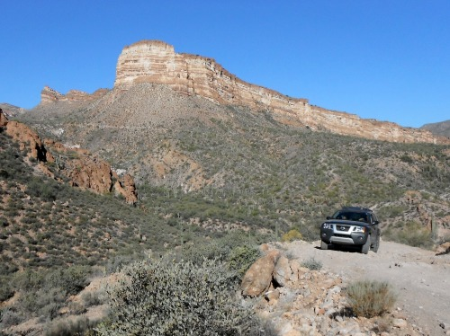 Driving Battle Axe Road with the White Canyon Wilderness in the background