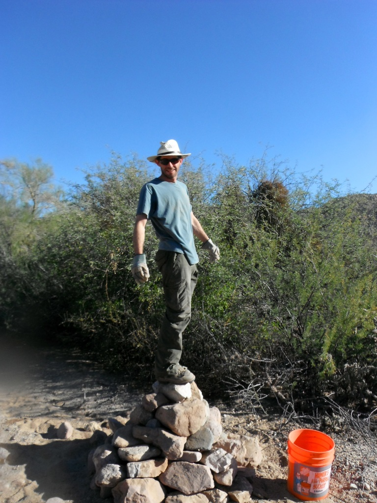 Chris shows the test of a well-built cairn