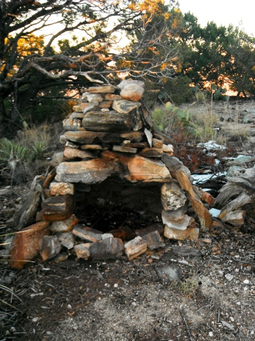 The fireplace at the summit