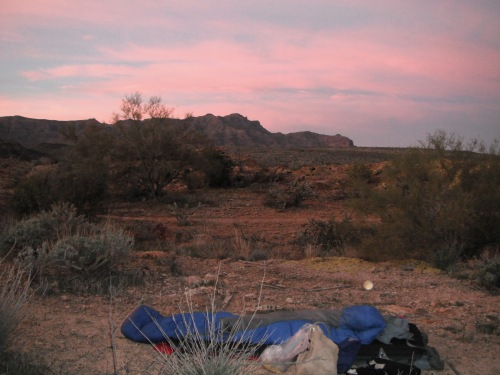 My camp with a view of the Superstition Ridgeline
