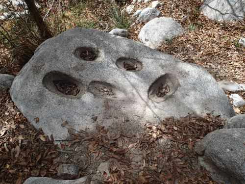 Ancient grinding holes near the stream