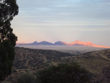 Mt. Wrightson casts a sunset shadow on the Mustang Mts.