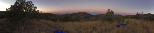 Moonset and sunrise at Canelo East ridgetop camp