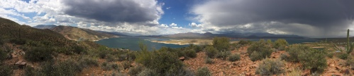 Roosevelt Lake and Bridge Panorama