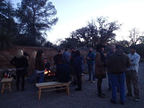 Gathering around the fire at El Rancho Robles
