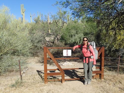 Walnut Canyon Gate, start of Sirena's segment on the AZT