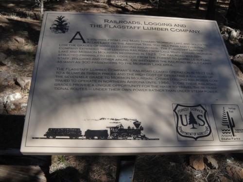Old logging railroad interpretive signage