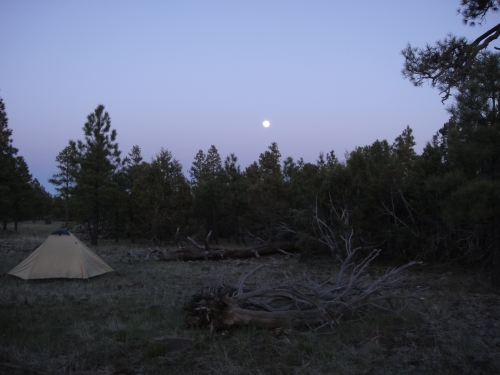 Full moon rising over camp