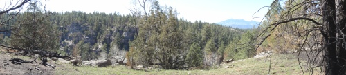 Foreground to background: Recent Fisher fire damage, Walnut Canyon, the San Francisco Peaks