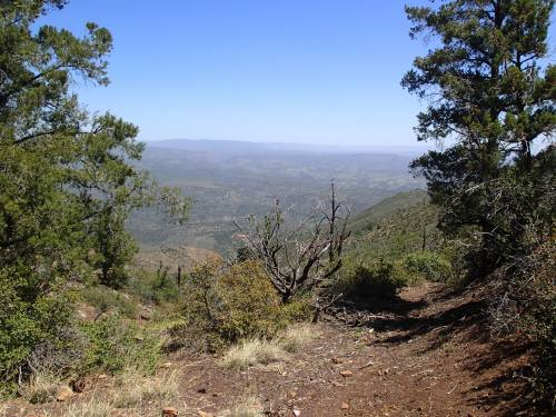 Hazy view from the saddle of the East Verde below
