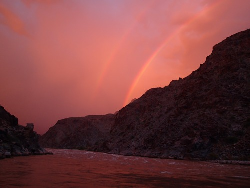 Incredible double rainbow over Diamond Creek Rapid