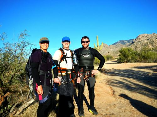 Hiking out in our gear- Photo by Dan Kinler