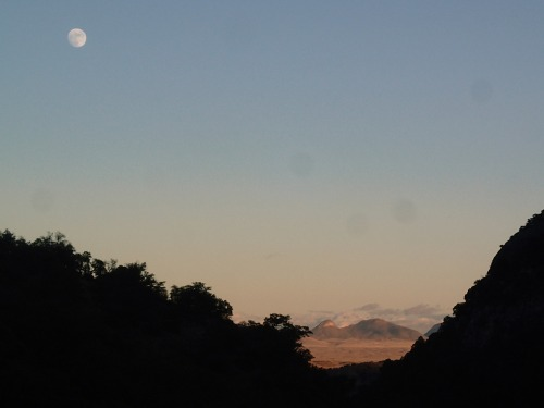 Moonrise and Mustang Mountains