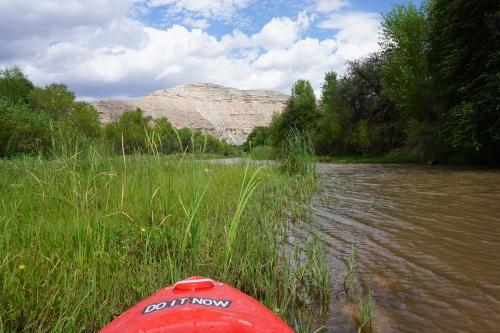 Taking a break to enjoy the view upstream