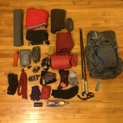 Gear for Olympic NP- lots more clothes, much less water!