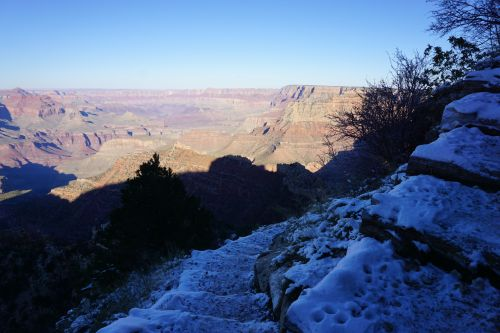 Snow and ice on the upper Grandview Trail