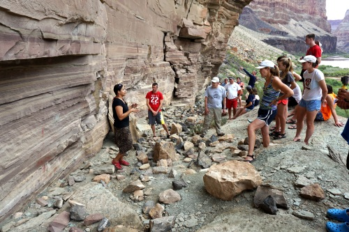 Giving an archaeology talk at the Whitmore Pictographs