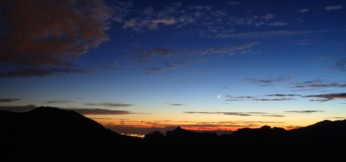 Gorgeous sunset and sliver of moon over Thimble Peak