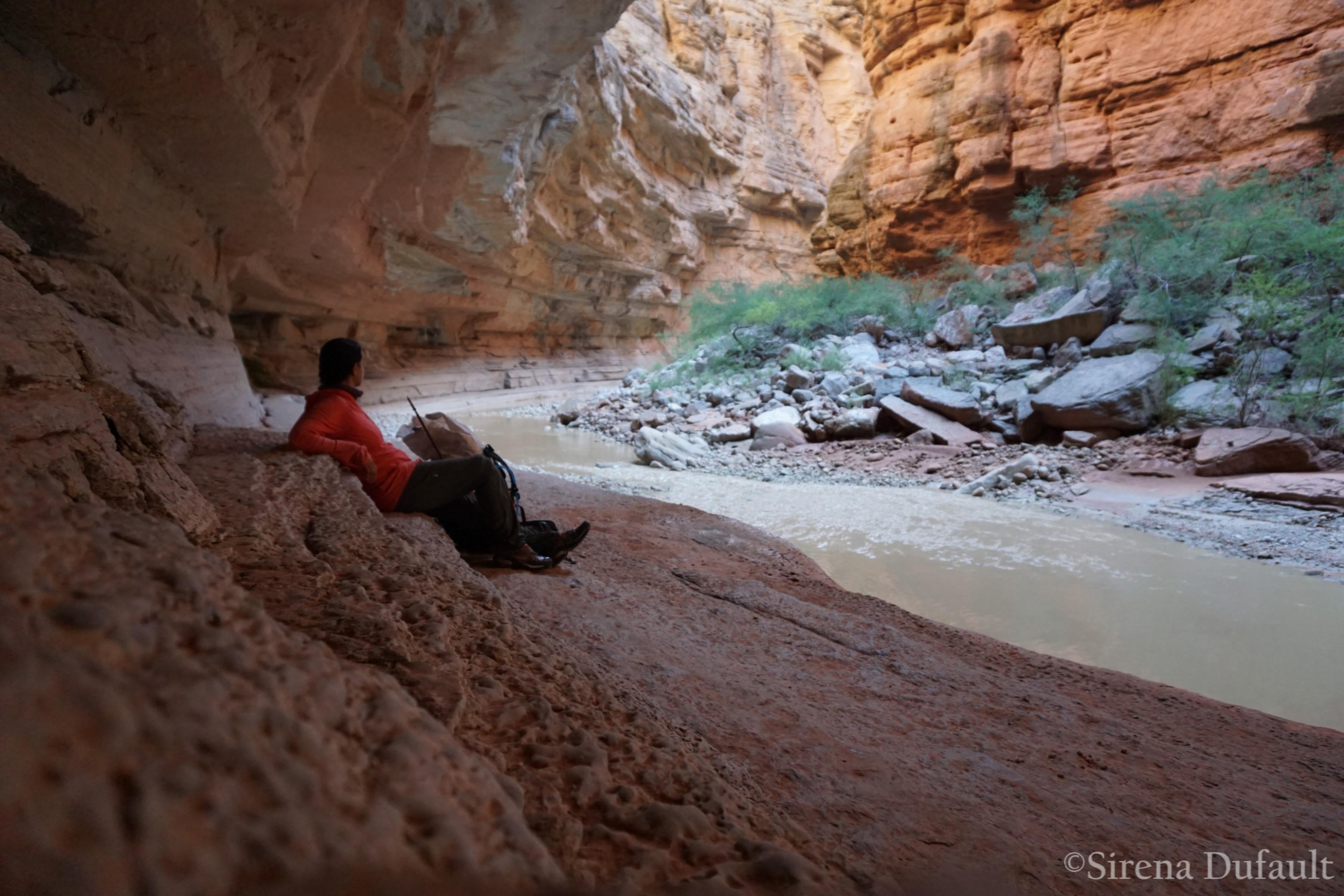 Relaxing on the Muav ledges in Kanab Creek