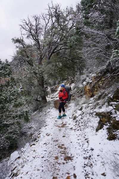 Brrr! Snowy on the upper Tanner Trail