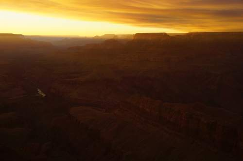 Smoky Sunset from Lipan Point