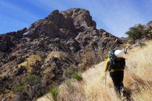 Wendy approaching Baboquivari Peak